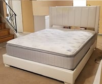 Beautiful Queen Bedroom Set Leather Headboard - $695 (Silver Spring) Silver Spring