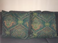 green and blue floral throw pillow 40 km