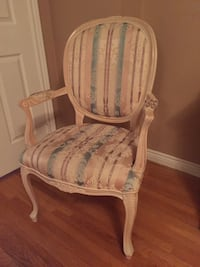 White/Pink floral padded wooden armchair Markham