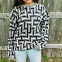 Vintage Geometric Retro Over sized Sweater Large Wheeling