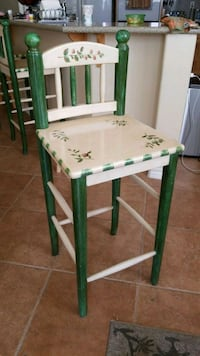 white and green wooden chair