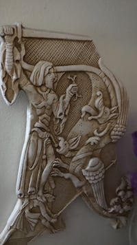 dragon and warrior fighting embossed white marble stone Gaithersburg, 20879