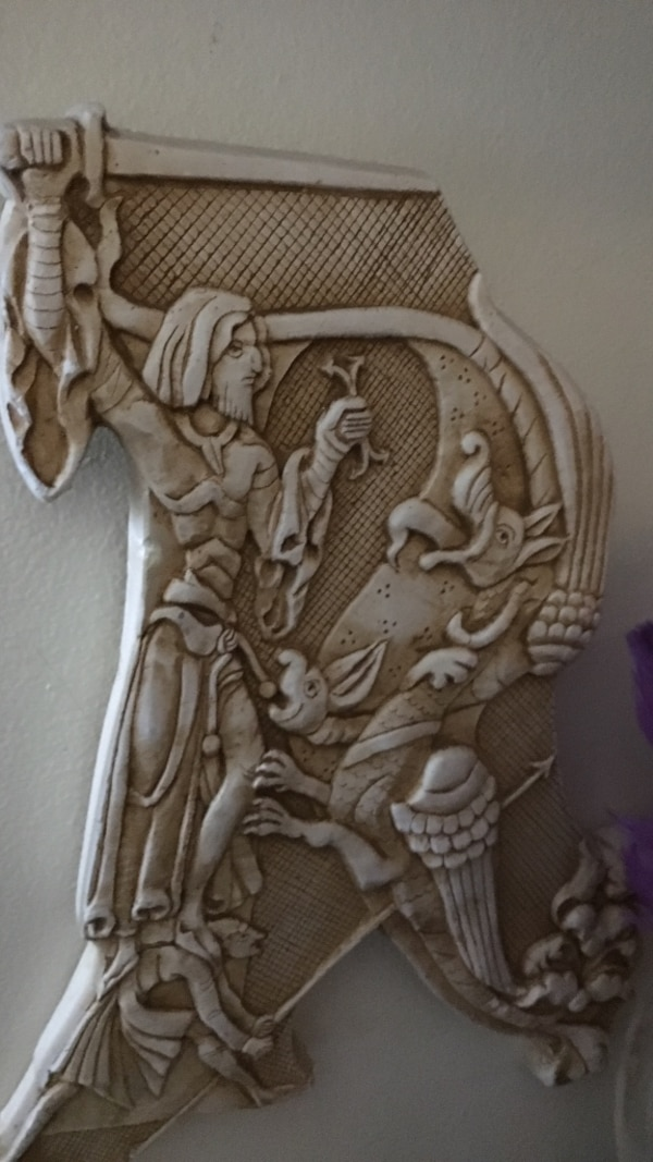 dragon and warrior fighting embossed white marble stone