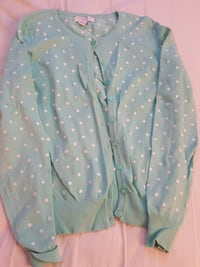 Mint white polka-dotted button-up sweater Falls Church, 22043