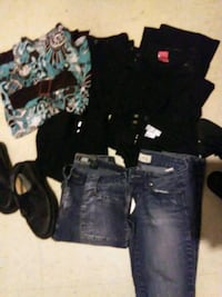 $10 women's clothes size 0 to 10 and one pair of 16 and 1/2, shoes