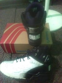 white-and-black basketball shoes with box Stone Mountain, 30083
