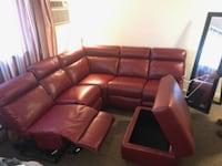 Sectional red faux-leather 3-years new  null