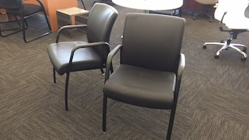 2 Black Leather Office Chairs