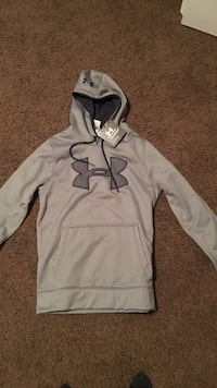 Gray and black under armour pullover hoodie