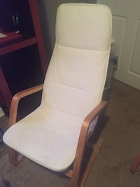 White wooden framed white padded chair Manassas, 20109