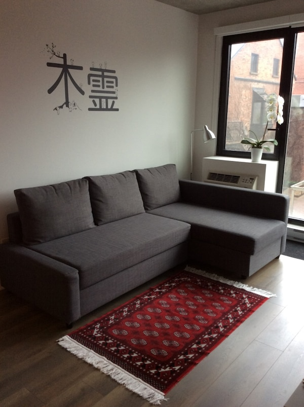 Used Grey suede sectional sofa bed - storage for sale in Montréal ...