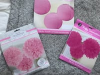 3 BRAND NEW PACKS SET'S OF 3 PINK FLUFFY HANGING LANTERN DECORS Colorado Springs, 80907