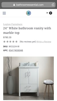 White bathroom vanity  with Carrara marble top Roseville, 95678