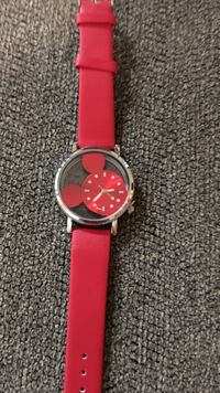 Round silver-colored mickey mouse analog watch with red leather band New Lexington, 43748