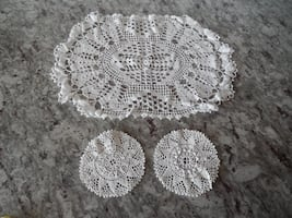 """14"""" x 9"""" Oval Doily and x2 4"""" Doilies all for $2 PU Morinville"""