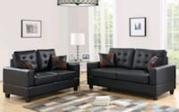 Black Faux Leather Sofa & Loveseat | HH7855   Houston