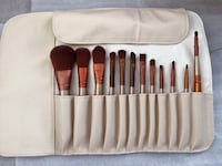 12 makeup brushes with white organizer