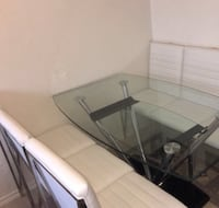 European style Glass Table with 6 white chairs  Toronto, M5T 2J1