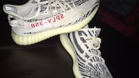 Unpaired white adidas yeezy boost 350 v2 shoe 17 km