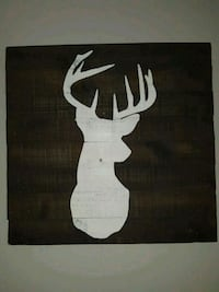 Stained wood picture with white deer Logan, 35098