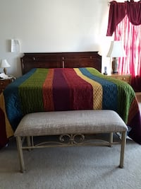 King size bed with queen mattress- real wood antique Ashburn, 20147