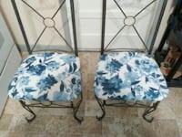 Two Reupholstered High Back Metal Frame Chairs 1230 mi