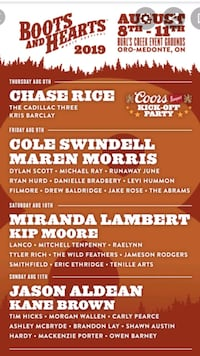 BOOTS AND HEARTS TICKETS (2) FOR FRIDAY AUGUST 9th Midland