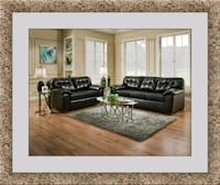 Black leather sofa and love seat free delivery Ashburn, 20147