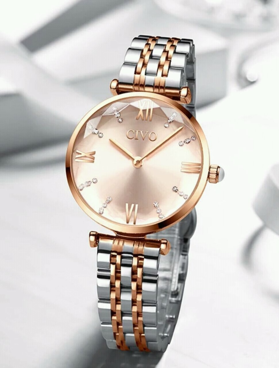 Photo Luxury Crystal Rose Gold Steel Strap Ladies Watch
