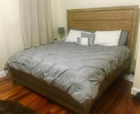 King size solid wood headboard, footboard and side rails. Perfect condition.  Providence, 02908