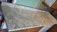 white marble look counter with double sink, 5 pieces BRAMPTON