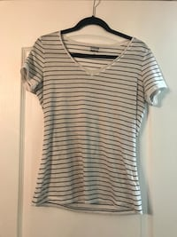 gray and black striped v-neck shirt Russell, K0A 1W0