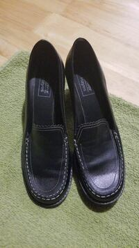 Women's black leather loafers(7)