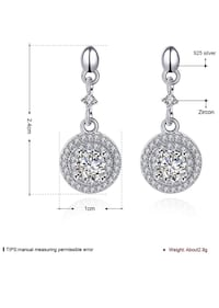 S925 Sterling Silver geometric irregular Inlaid Cubic Zirconia Earrings for Women 兰丘库卡蒙卡, 91730
