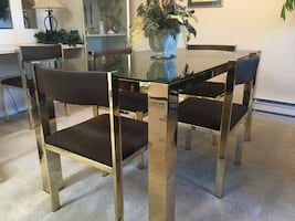 Vintage Gold Plated&Glass Dining Table set