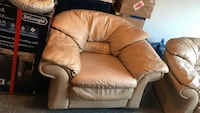 brown leather sofa chair with ottoman Laurel, 20707