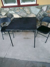 Black folding table with 2 matching chairs Riverside, 92503