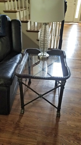End Tables (2) Set   High Quality End Tables   Metal, Glass U0026 Leather (Sold  As Set Only) Cash.