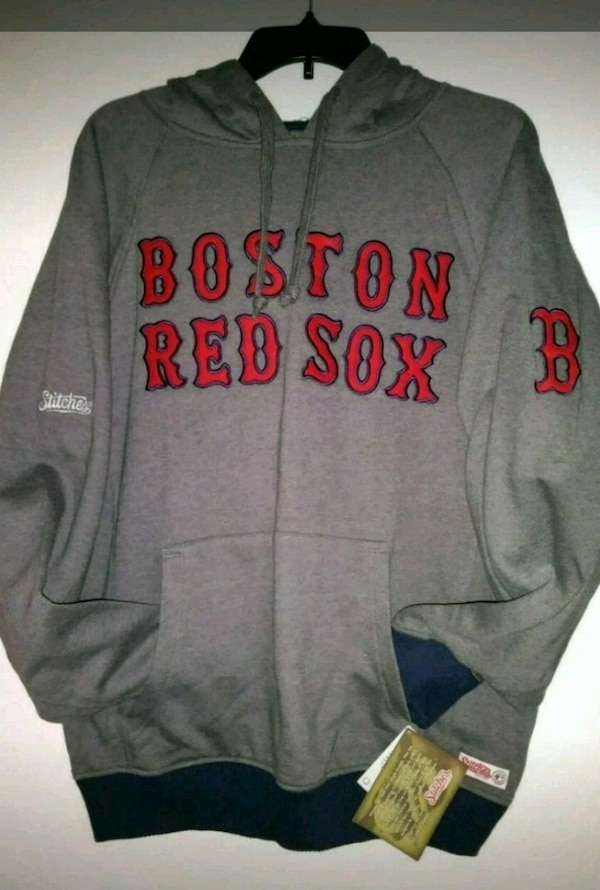 new style 1c217 a2375 gray and red Boston Red Sox hoodie