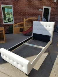 tufted white leather bed frame