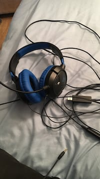 blue and black Turtlebeach corded headset