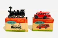 Vintage Miniature Hand-painted Old Timer Antimony Locomotive & Ad Car Milton, L9T 3Z3