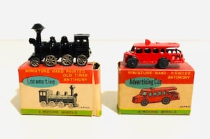 Vintage Miniature Hand-painted Old Timer Antimony Locomotive & Ad Car