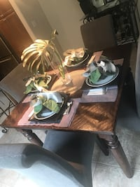 Crate and Barrel wooden table w/ 4 chairs