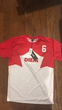 Red and white diem dri fit t-shirt