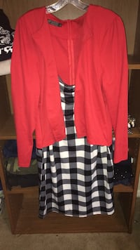 red and black checked button-up long sleeve dress Triangle, 22172