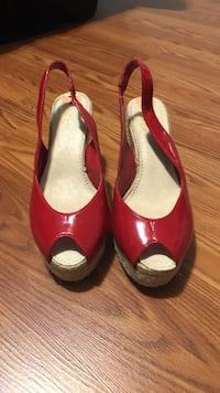 Pair of women's red peep-toe slingback patent leather sandals Buford, 30519