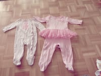 Excellent condition very clean one of them is for 3-6M and the other one is stretchy it fits 12M Toronto, M2J 3C8