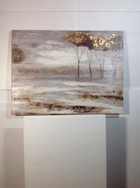 """Abstract trees print with gold leaf 36""""x47"""" Cambridge, N1T 5S2"""