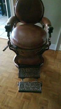 brown wooden framed brown leather padded armchair Vaughan, L6A 2G7